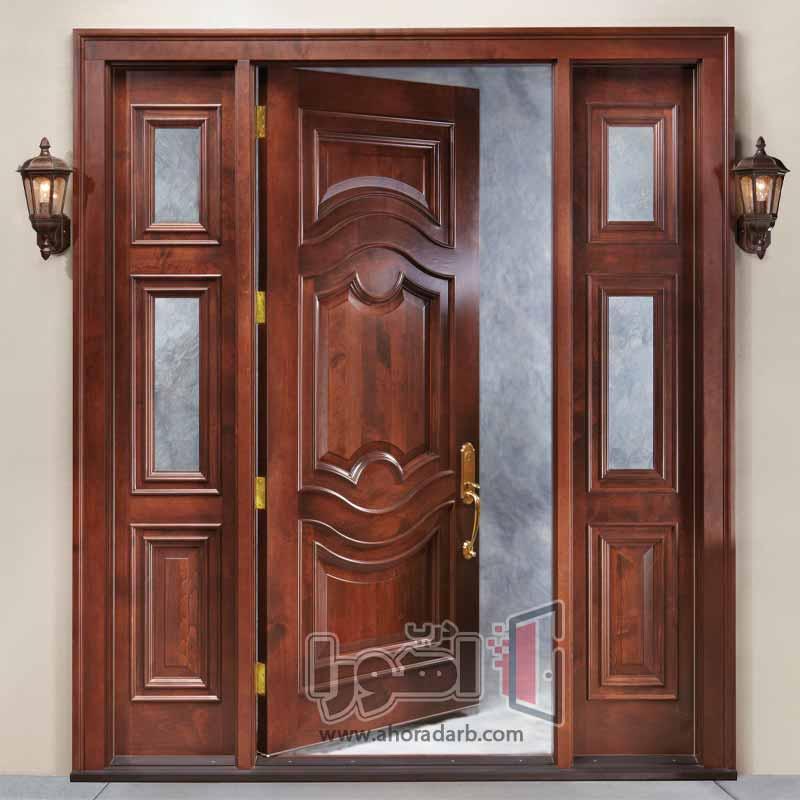 درب لابی چوبی شیشه خور،اهورا درب